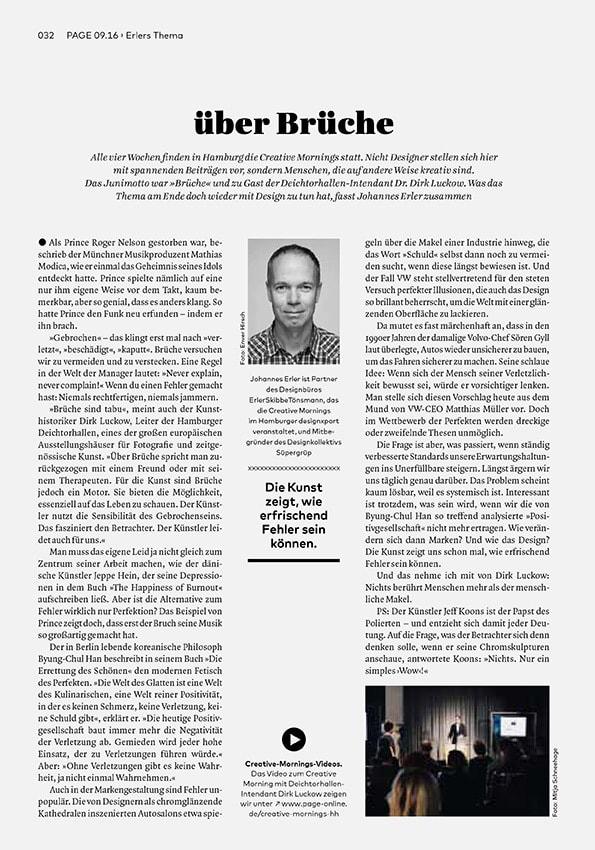 Bureau Johannes Erler – über – Die neue Kolumne in der PAGE & über Brüche – Die erste Kolumne in der PAGE