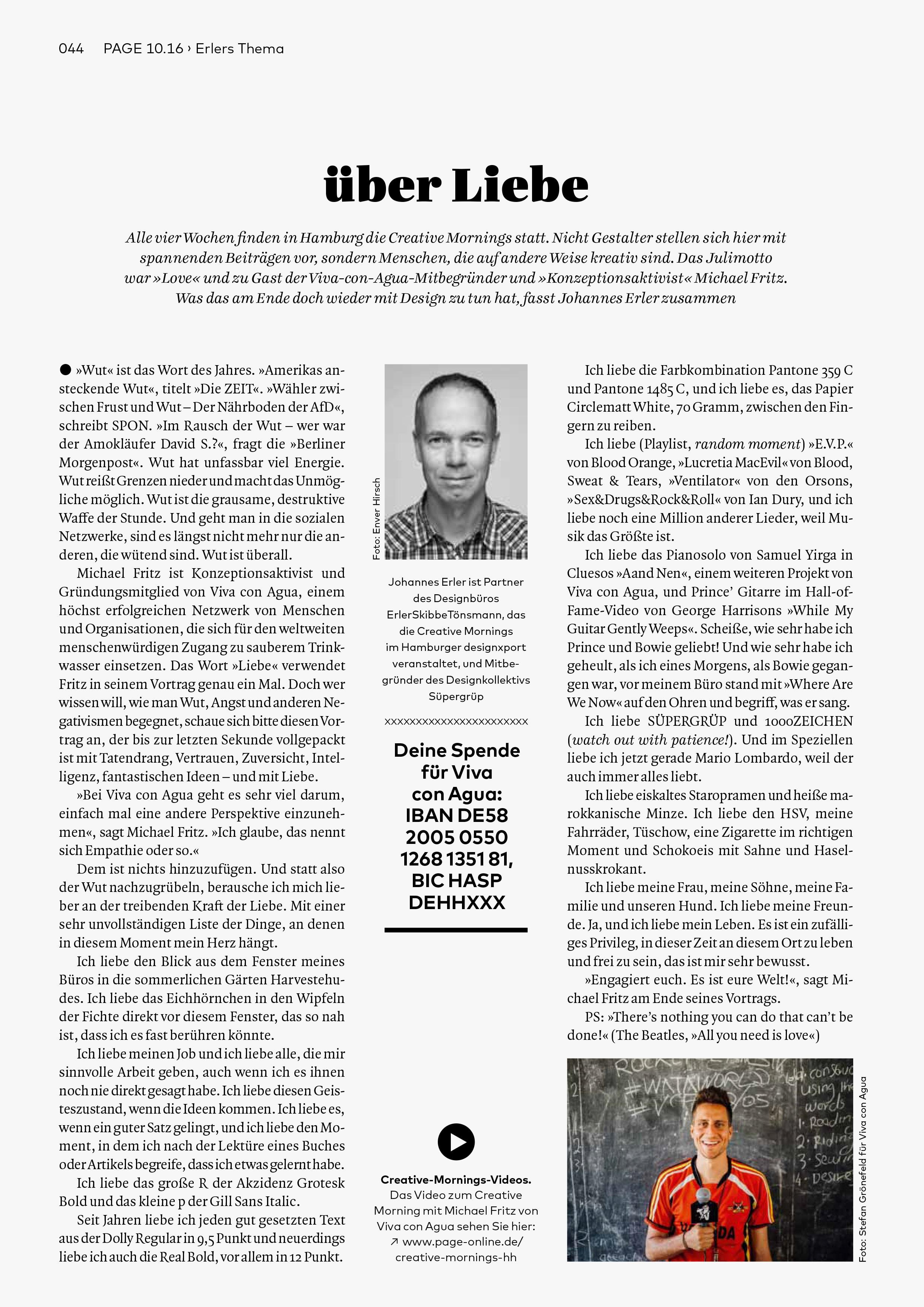 Bureau Johannes Erler – über Liebe (die September-Kolumne in der PAGE)