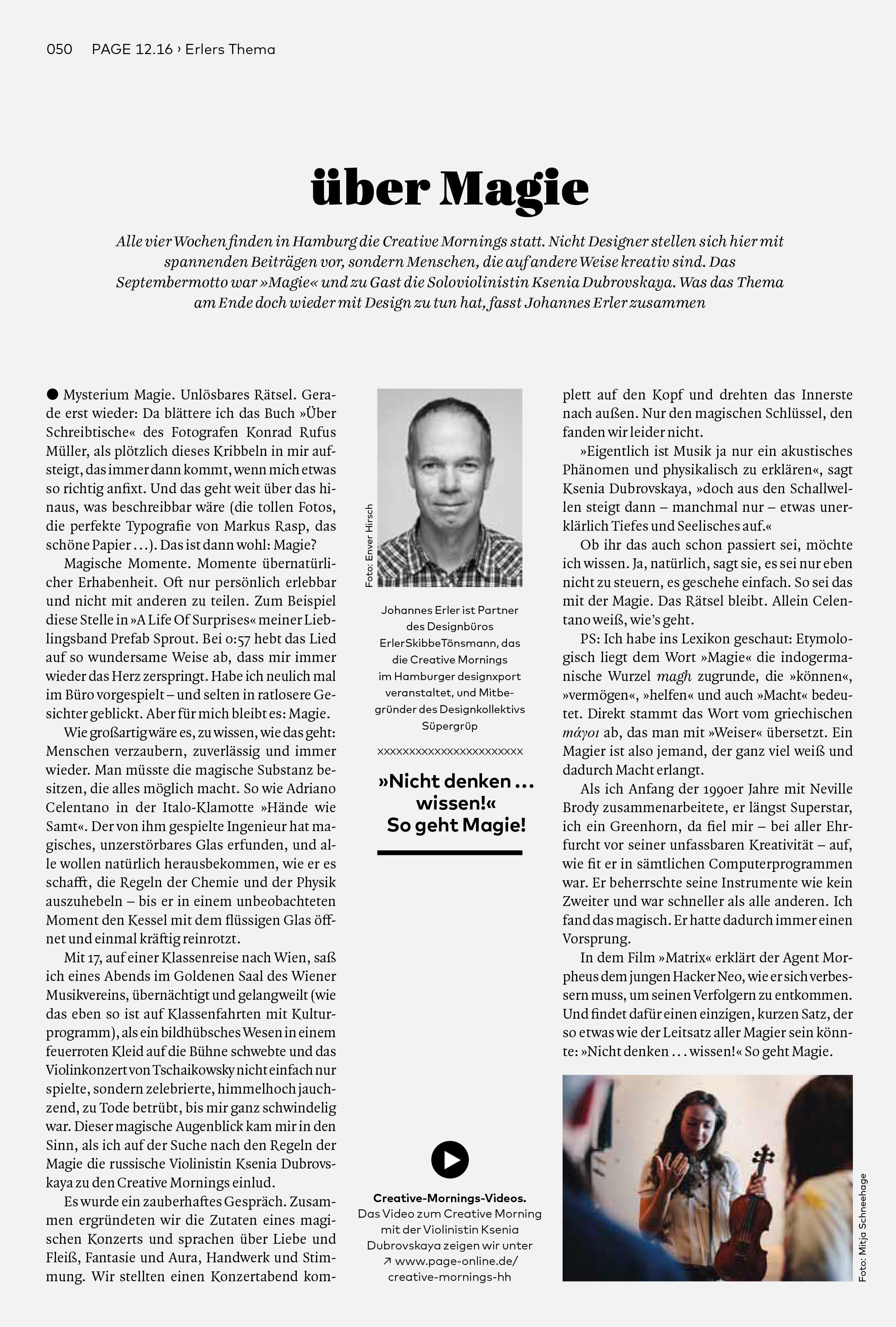 Bureau Johannes Erler – über Magie