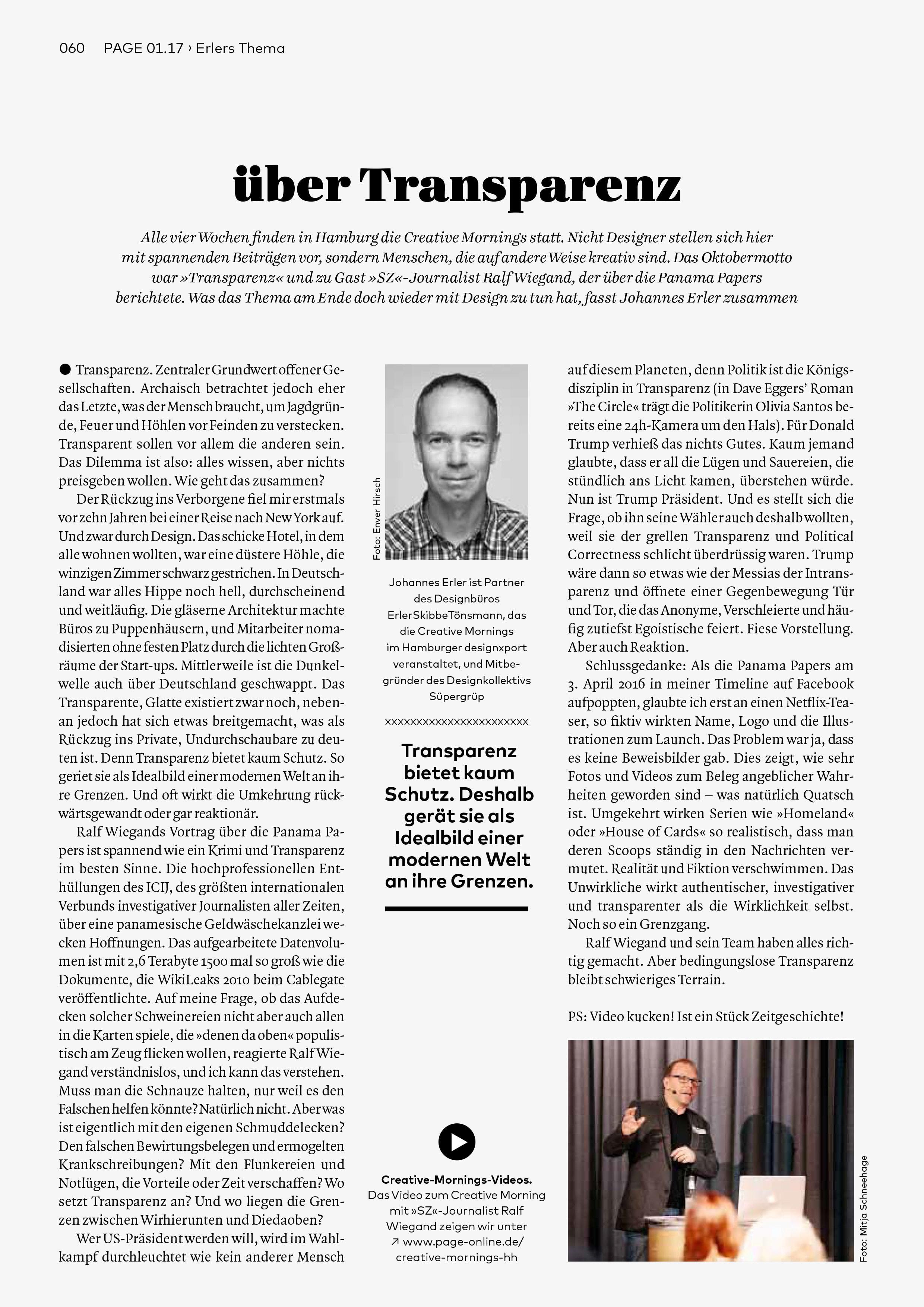 Bureau Johannes Erler – über Transparenz