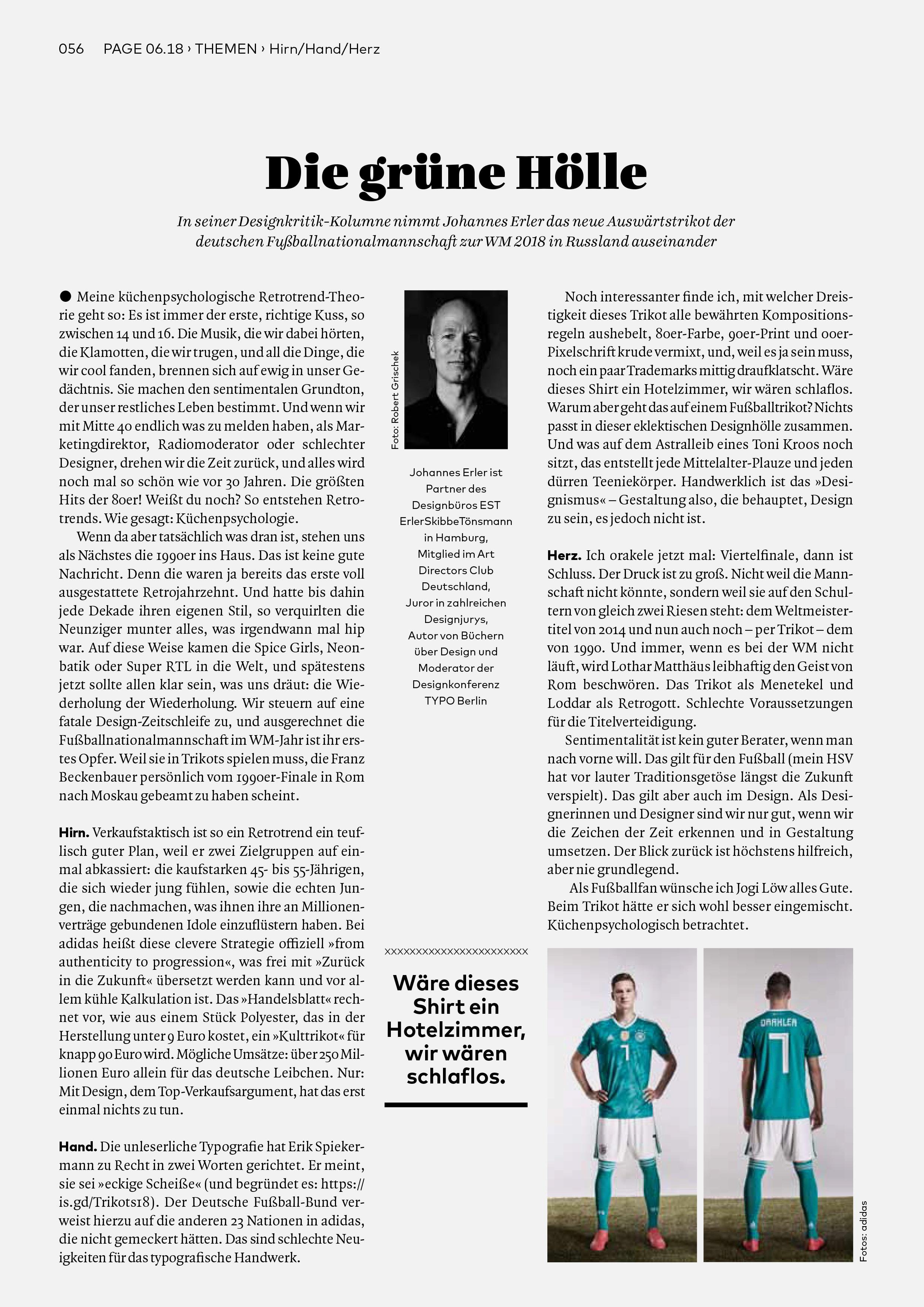 Bureau Johannes Erler – Designkritik-Kolumne #2: Das neue Auswärtstrikot der deutschen Nationalmannschaft