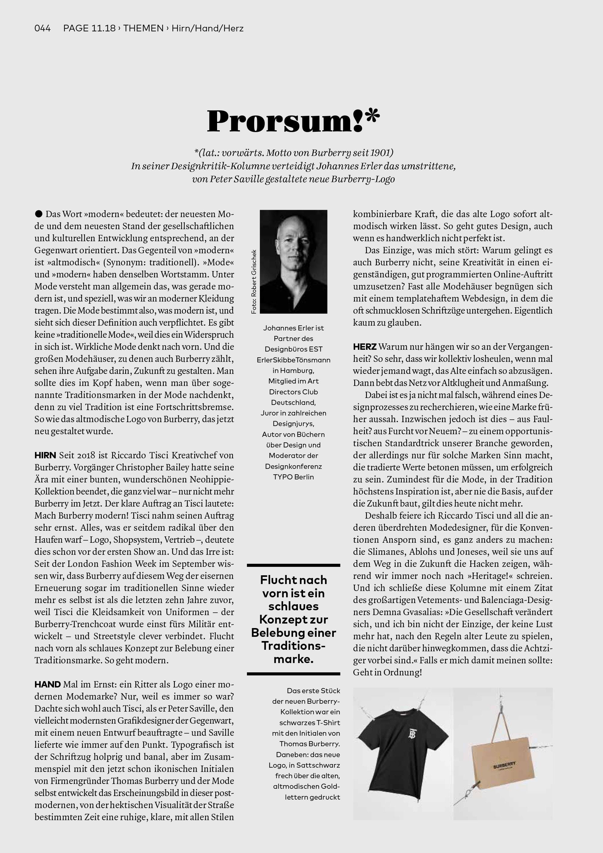 Bureau Johannes Erler – Designkritik-Kolumne #6: Das neue Burberry-Logo